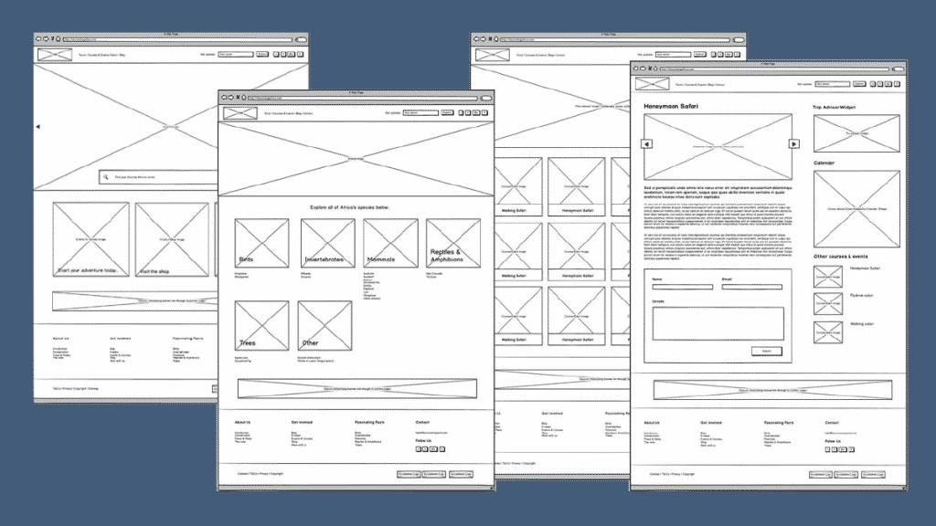 web application: Wireframes