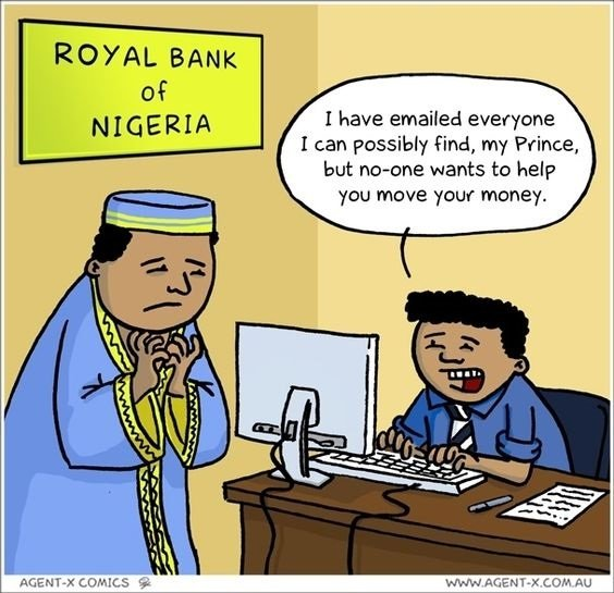 Nigerian Prince and fraud emails comic