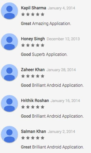 Fake reviews on app store