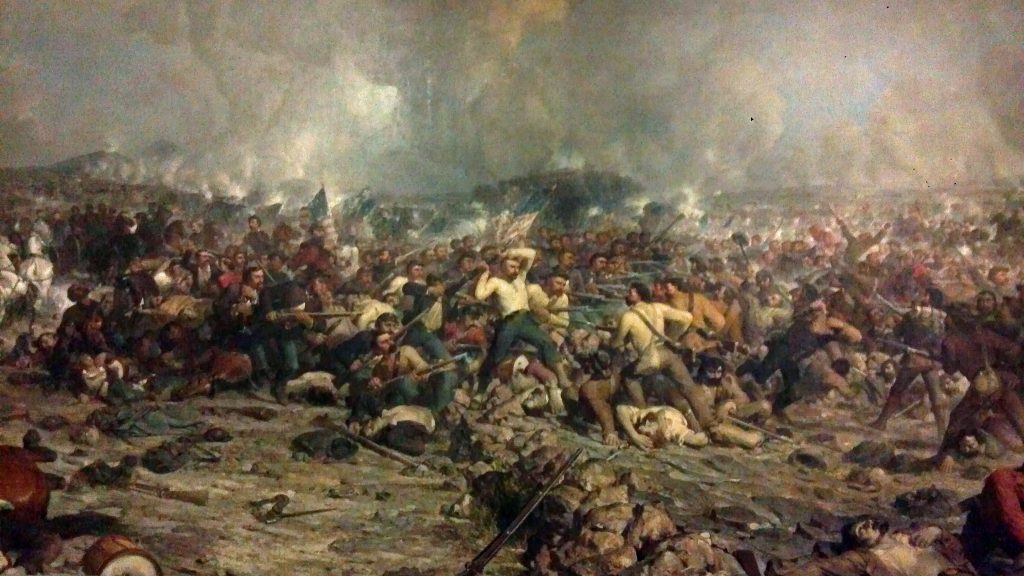 A bloody battlefield circa 18th century painting