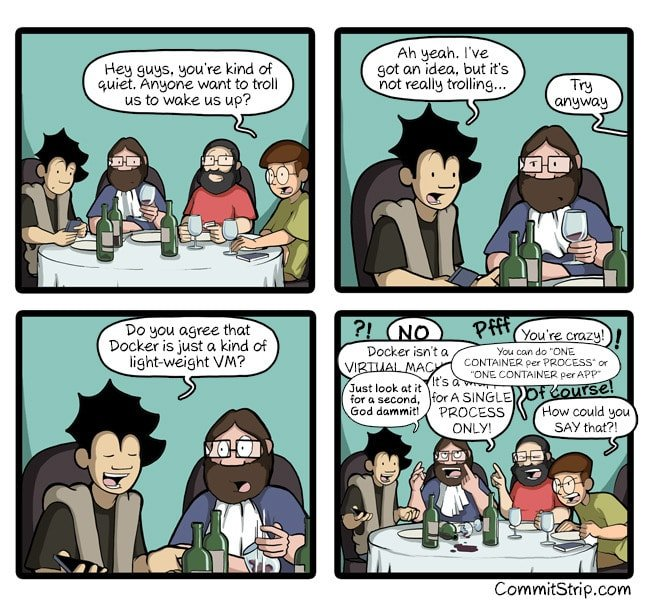 Comic strip comparing docker with vms